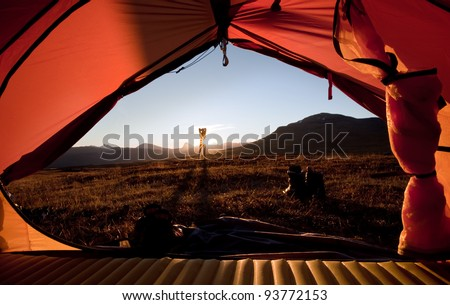 Sunrise in front of the Tent