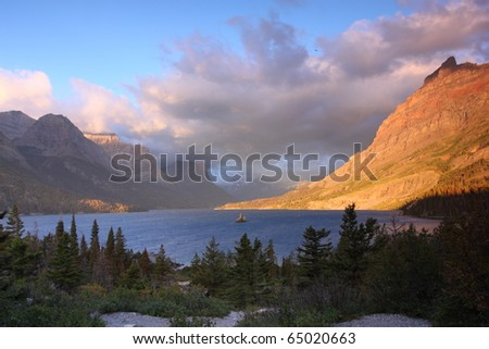 Sunrise in Glacier National Park - stock photo