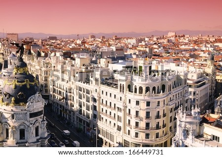 Sunrise in Gran Via of Madrid, Spain. - stock photo