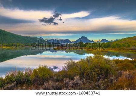 Sunrise in Grand Teton National Park - Oxbow Point - stock photo