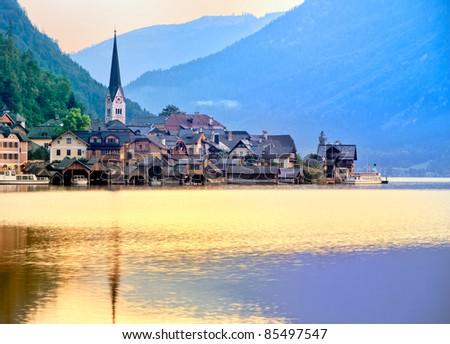 Sunrise in Hallstatt, Austria - stock photo