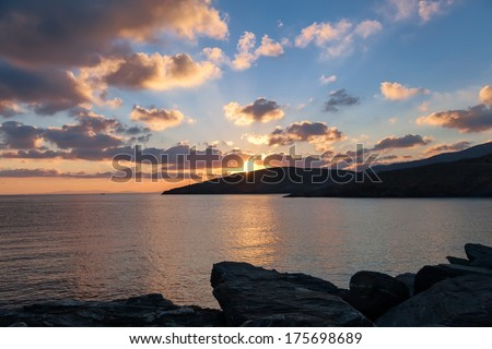 Sunrise in harbor of greek island Kythnos at Cyclades  - stock photo
