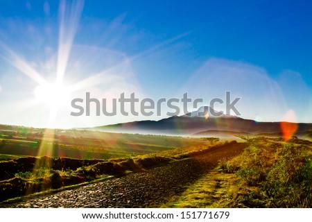 Sunrise in Heaven, Cayambe mointain, Ecuador - stock photo