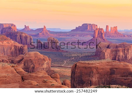 Sunrise in Hunts Mesa, Monument Valley, Arizona, USA - stock photo