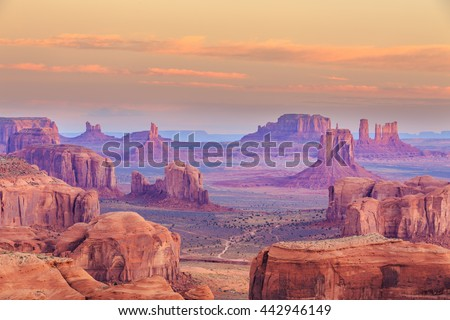 Sunrise in Hunts Mesa navajo tribal majesty place near Monument Valley, Arizona, USA - stock photo