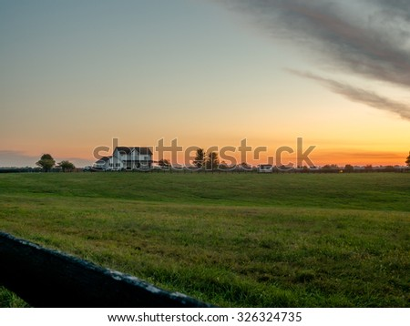Sunrise in Kentucky Horse Country  - stock photo