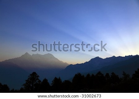 Sunrise in Langtang valley - stock photo