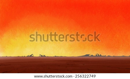 Sunrise in lonely drought cracked desert. Digital background raster illustration.  - stock photo