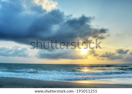 Sunrise in Melbourne Beach, Florida, HDR Image. - stock photo