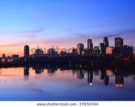 sunrise in Minneapolis - stock photo