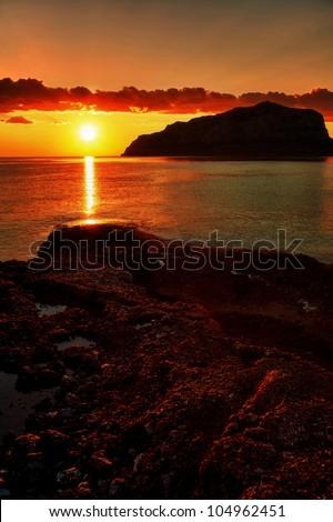 Sunrise In Monemvasia. - stock photo