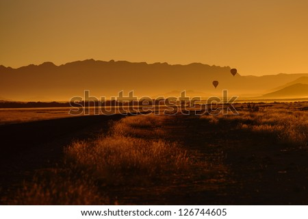 Sunrise in Namibia - stock photo
