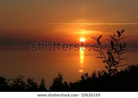 Sunrise in Nida, Lithuania - stock photo