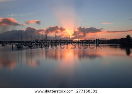 Sunrise in Pakuranga, Auckland City, New Zealand - stock photo