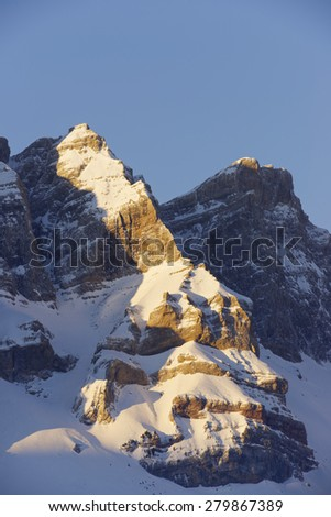 Sunrise in Partacua Mountains, Tena Valley, Pyrenees, Huesca, Aragon, Spain - stock photo
