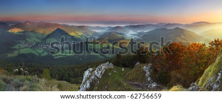 Sunrise in peak nice Vapec - stock photo