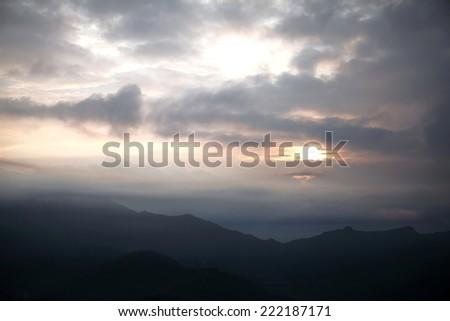 Sunrise in Pokhara valley - stock photo