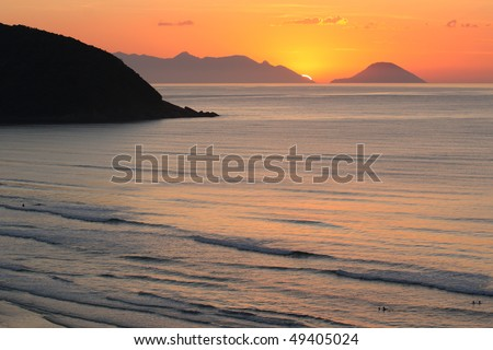 Sunrise in Rio de Janeiro - stock photo