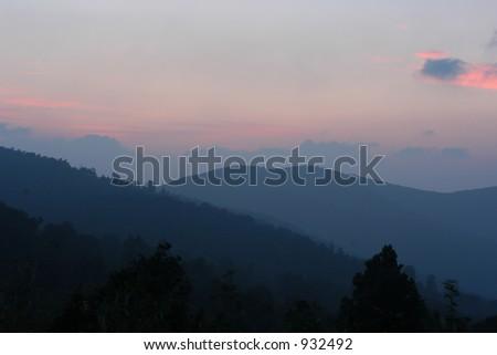 Sunrise in Shenandoah NP, Virginia - stock photo