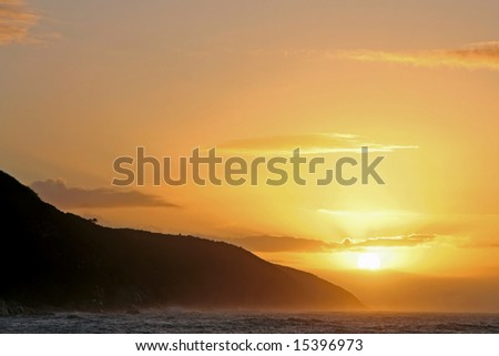 Sunrise in South Africa at Tsitsikamma National Park - stock photo