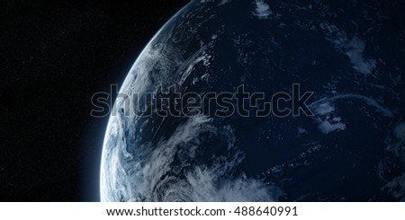 Sunrise in space. Orbital view on a planet covered in clouds from space. Planet is covered in clouds. Elements of this image furnished by NASA. 3d illustration