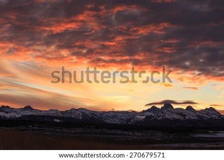 Sunrise In Teton Valley - stock photo