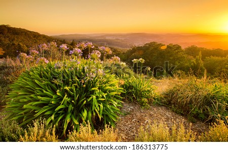 Sunrise in the Adelaide Hills - stock photo