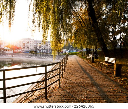 sunrise in the city park - stock photo