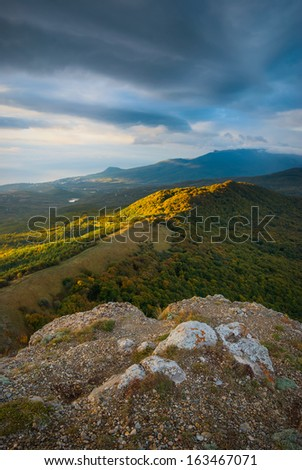 Sunrise in the Crimea mountain valley