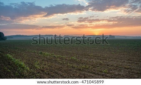 Sunrise in the farmlands of Prekmurje in Slovenia