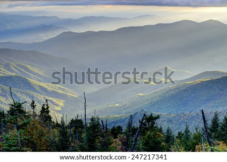 Sunrise in The Great Smoky Mountains. - stock photo