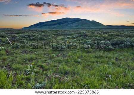 Sunrise in the hills and valley, Grand Teton National Park, Wyoming - stock photo