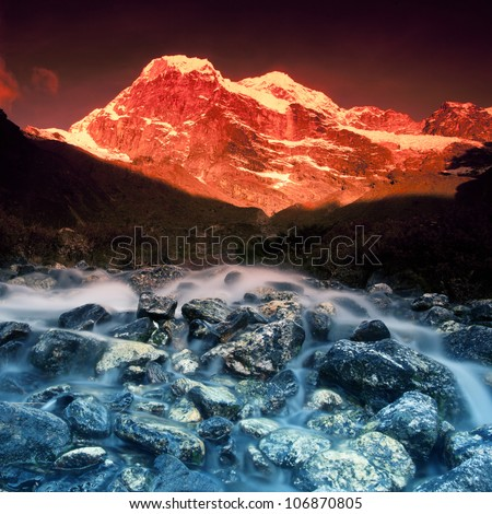 Sunrise in the Himalayas, at a beautiful stream, Everest Region - stock photo