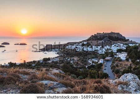 sunrise in the Lindos. Rhodes island, Greece  - stock photo