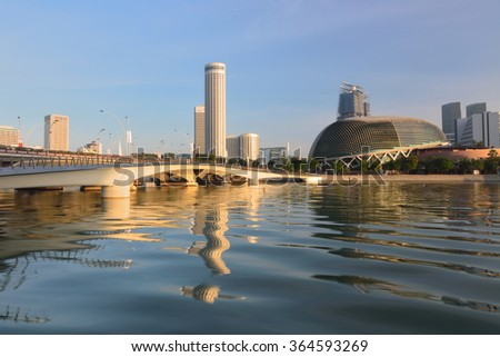 Sunrise in the morning at Singapore city - stock photo