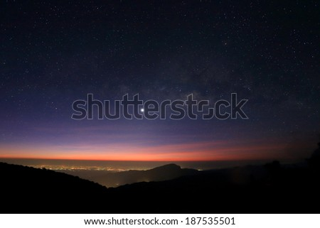Sunrise in the morning, Landscape of Milky Way beautiful sky on Doi Inthanon mountain, Chiang Mai, Thailand. - stock photo