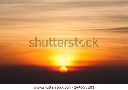 Sunrise in the morning, sunrise with clouds. - stock photo