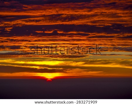 sunrise in the morning with beautiful cloudscape on summer time
