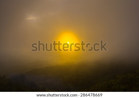 sunrise in the mountains landscape - stock photo
