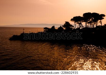 Sunrise in the sea at Veli Losinj - Croatia - stock photo