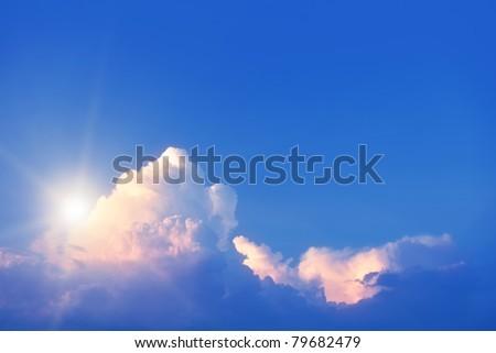 Sunrise in the sky. - stock photo