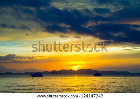 sunrise in the  tropical sea - stock photo