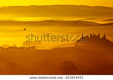 Sunrise in the valley - stock photo