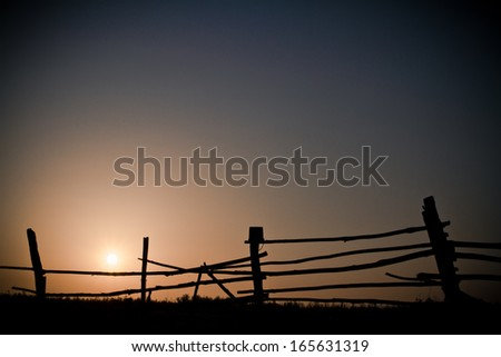 Sunrise in the village - stock photo