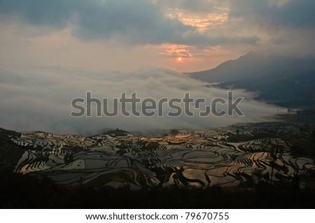 Sunrise in Yuanyang, China - stock photo