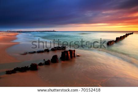 Sunrise is baltic sea - stock photo
