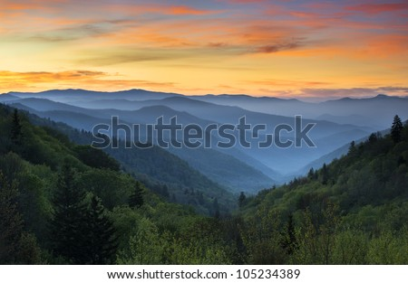 Sunrise Landscape Great Smoky Mountains National Park Gatlinburg TN and Oconaluftee Valley Cherokee NC - stock photo