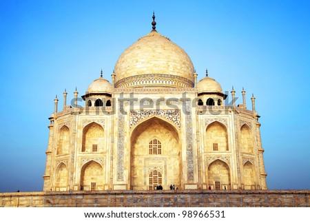 Sunrise light over Taj Mahal in India, Agra, Uttar Pradesh - stock photo