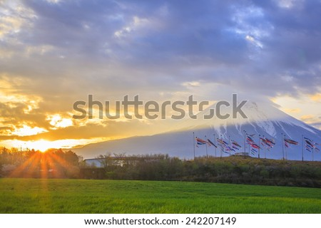 Sunrise Mt. Fuji and carp streamer, Shizuoka, Japan - stock photo
