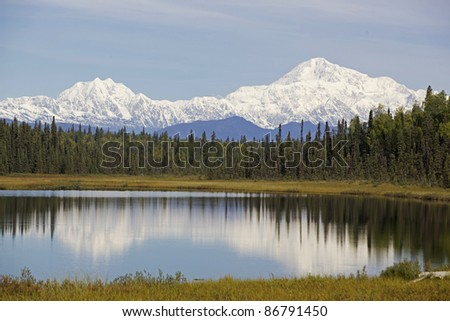 Sunrise near Denali mountain - stock photo
